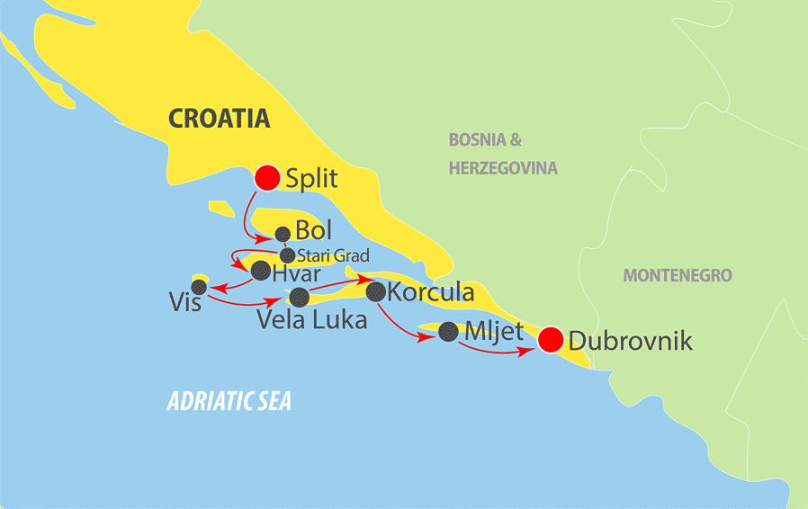 Included on your Croatia Cruise Split to Dubrovnik