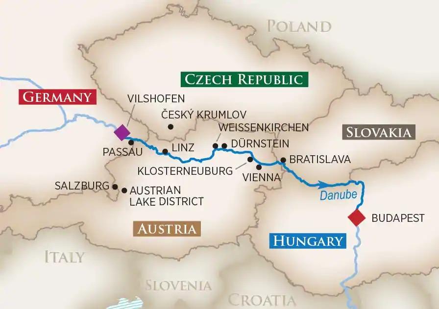 Romantic Danube Cruise Vienna to Budapest