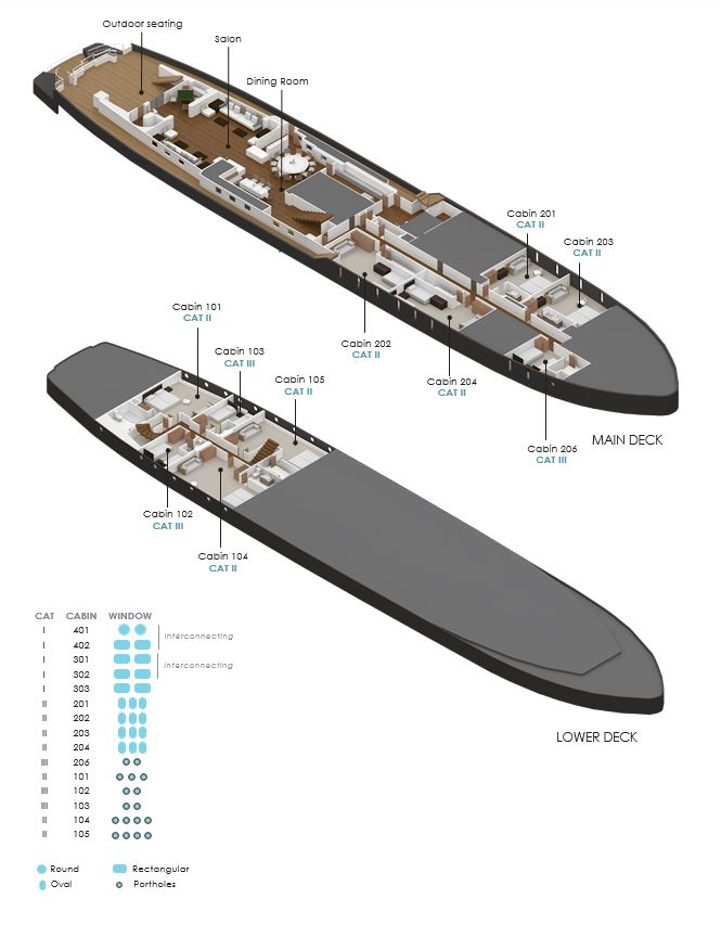 Deck Plan Main and Lower