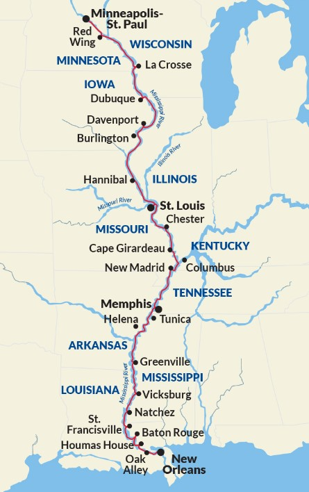 New Orleans to St. Paul Cruise - Complete Mississippi